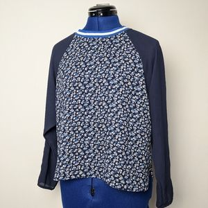 H&M floral sheer top with stripped trim.